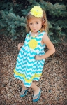 CLEARANCE!! Blue and Yellow Chevron Dress